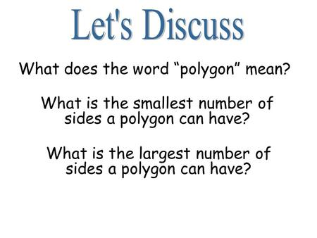 "What does the word ""polygon"" mean?"
