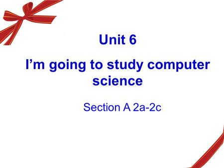 Unit 6 I'm going to study computer science Section A 2a-2c.
