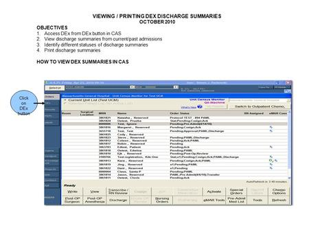 Click on DEx button VIEWING / PRINTING DEX DISCHARGE SUMMARIES OCTOBER 2010 OBJECTIVES 1.Access DEx from DEx button in CAS 2.View discharge summaries from.