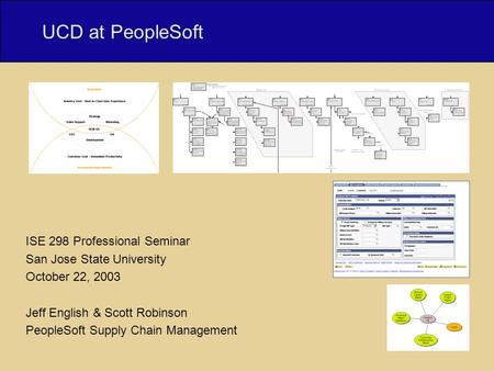 UCD at PeopleSoft | Jeff English & Scott Robinson | User Experience, Supply Chain Management UCD at PeopleSoft ISE 298 Professional Seminar San Jose State.