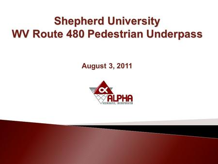 Shepherd University WV Route 480 Pedestrian Underpass August 3, 2011.