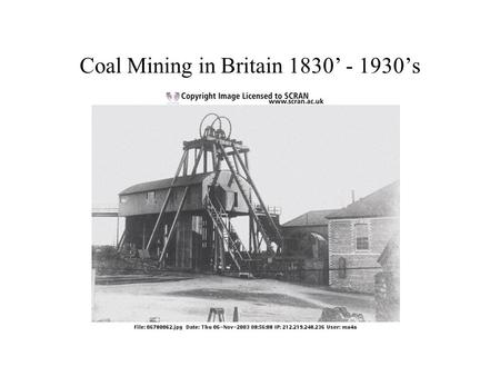 Coal Mining in Britain 1830' - 1930's. Miners 1866? Three miners stand for the camera. They have lights fastened to their caps. One miner looks young.