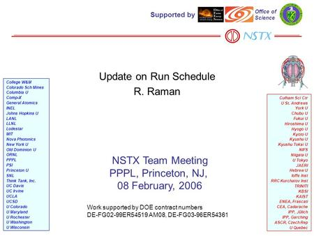 1 Update on Run Schedule R. Raman NSTX Team Meeting PPPL, Princeton, NJ, 08 February, 2006 Work supported by DOE contract numbers DE-FG02-99ER54519 AM08,