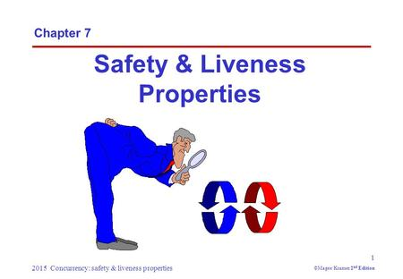 2015 Concurrency: safety & liveness properties 1 ©Magee/Kramer 2 nd Edition Chapter 7 Safety & Liveness Properties.