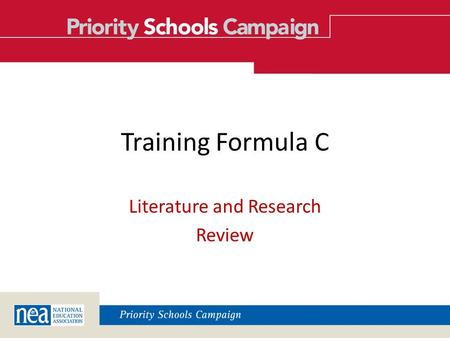 Training Formula C Literature and Research Review.
