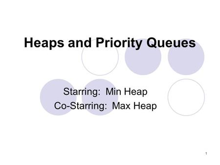 1 Heaps and Priority Queues Starring: Min Heap Co-Starring: Max Heap.