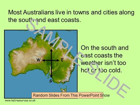 www.ks1resources.co.uk Most Australians live in towns and cities along the south and east coasts. On the south and east coasts the weather isn't too hot.