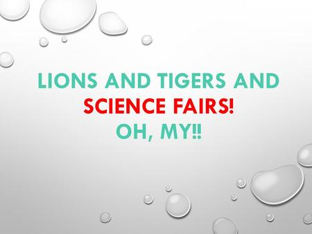LIONS AND TIGERS AND SCIENCE FAIRS! OH, MY!!. TERRI BERRY SECONDARY SCIENCE COORDINATOR 281-284-0089.