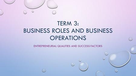 TERM 3: BUSINESS ROLES AND BUSINESS OPERATIONS ENTREPRENEURIAL QUALITIES AND SUCCESS FACTORS.