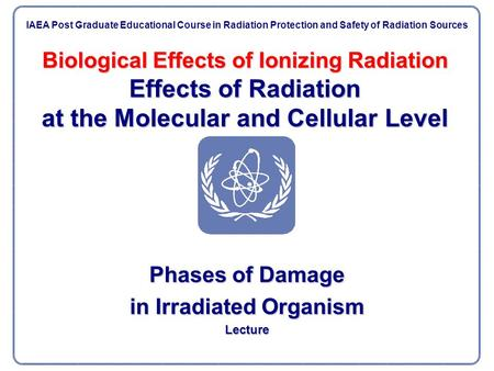 Biological Effects of Ionizing Radiation Effects of Radiation at the Molecular and Cellular Level Phases of Damage in Irradiated Organism Lecture IAEA.