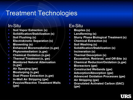 Treatment Technologies In-Situ  Soil Vapor Extraction (s)  Solidification/Stabilization (s)  Soil Flushing (s)  Electrokinetic Separation (s)  Bioventing.