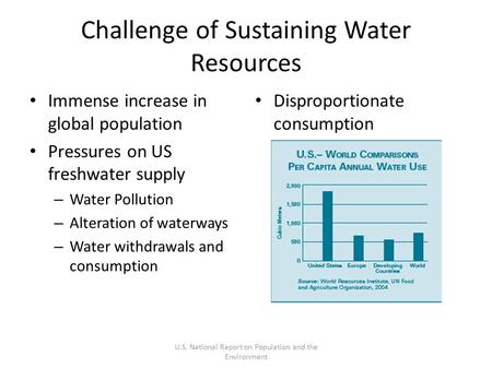 Challenge of Sustaining Water Resources Immense increase in global population Pressures on US freshwater supply – Water Pollution – Alteration of waterways.