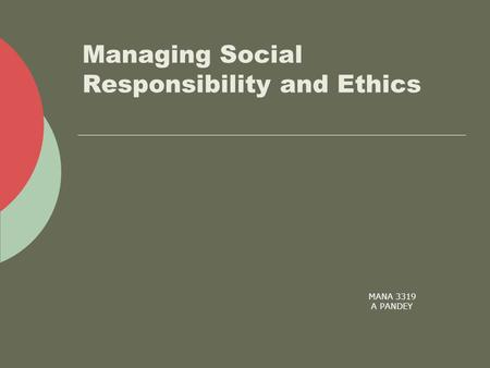 MANA 3319 A PANDEY Managing Social Responsibility and Ethics.