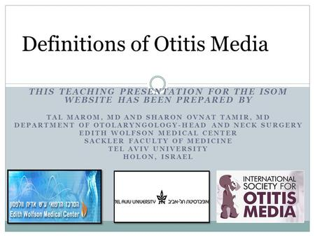 Definitions of Otitis Media