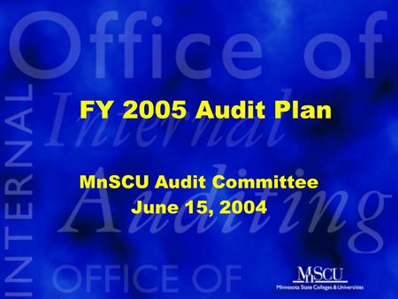 FY 2005 Audit Plan MnSCU Audit Committee June 15, 2004.