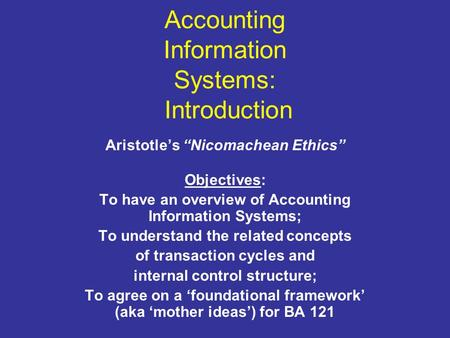 Accounting Information Systems: Introduction