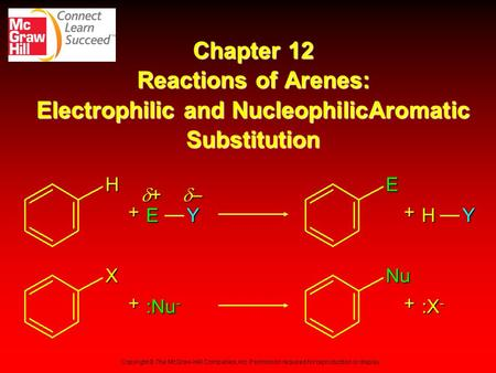 Chapter 12 Reactions of Arenes: Electrophilic and NucleophilicAromatic Substitution + Y + – X Nu + :Nu- :X- Copyright © The McGraw-Hill Companies, Inc.