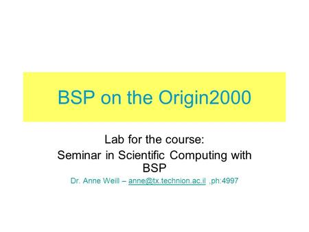 BSP on the Origin2000 Lab for the course: Seminar in Scientific Computing with BSP Dr. Anne Weill –