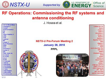 RF Operations: Commissioning the RF systems and antenna conditioning J. Hosea et al. NSTX-U Supported by Culham Sci Ctr York U Chubu U Fukui U Hiroshima.