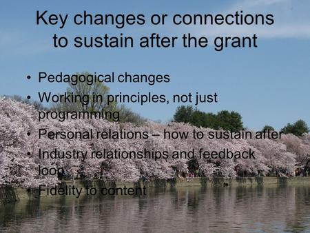Key changes or connections to sustain after the grant Pedagogical changes Working in principles, not just programming Personal relations – how to sustain.