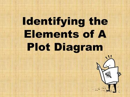 Identifying the Elements of A Plot Diagram. Plot (definition) Plot is the organized pattern or sequence of events that make up a story. Like links in.