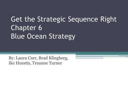 Get the Strategic Sequence Right Chapter 6 Blue Ocean Strategy By: Laura Carr, Brad Klingberg, Ike Huestis, Treanne Turner.
