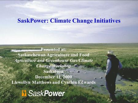 Presented at: Saskatchewan Agriculture and Food Agriculture and Greenhouse Gas/Climate Change Workshop Saskatoon December 11, 2000 Llewellyn Matthews and.