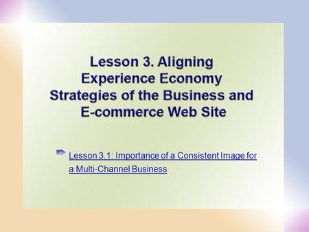1 Lesson 3.1: Importance of a Consistent Image for a Multi-Channel Business.
