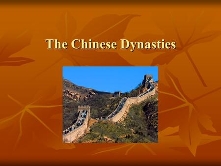 The Chinese Dynasties. Ming Dynasty Emperor Hong Wu expels the Mongols and brings peace and stability. Emperor Hong Wu expels the Mongols and brings peace.