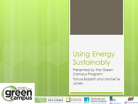 Using Energy Sustainably Presented by the Green Campus Program: Tonya Bobbitt and Michel'le Jones 1.