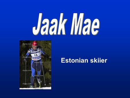 Estonian skiier. Jaak Mae of Estonia skis on his way to place second in the men's 15- kilometer classical individual cross country race at the Nordic.