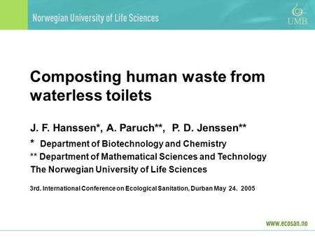 Composting human waste from waterless toilets