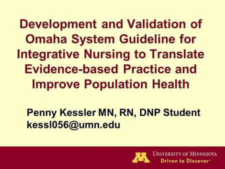 Development and Validation of Omaha System Guideline for Integrative Nursing to Translate Evidence-based Practice and Improve Population Health Penny Kessler.