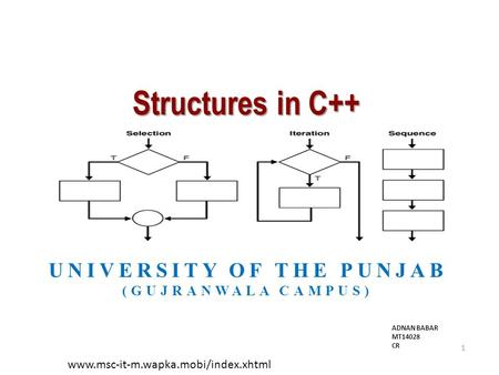 Structures in C++ UNIVERSITY OF THE PUNJAB (GUJRANWALA CAMPUS) 1 www.msc-it-m.wapka.mobi/index.xhtml ADNAN BABAR MT14028 CR.