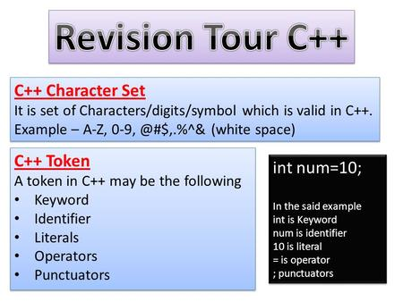 C++ Character Set It is set of Characters/digits/symbol which is valid in C++. Example – A-Z, (white space) C++ Character Set It is set of.