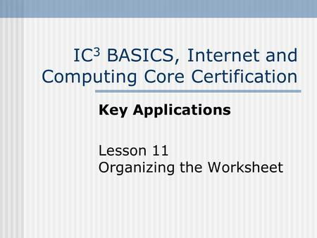 IC 3 BASICS, Internet and Computing Core Certification Key Applications Lesson 11 Organizing the Worksheet.
