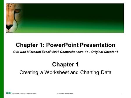 With Microsoft Excel 2007 Comprehensive 1e© 2008 Pearson Prentice Hall1 Chapter 1: PowerPoint Presentation GO! with Microsoft Excel ® 2007 Comprehensive.