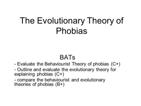 Preparedness theory of phobia