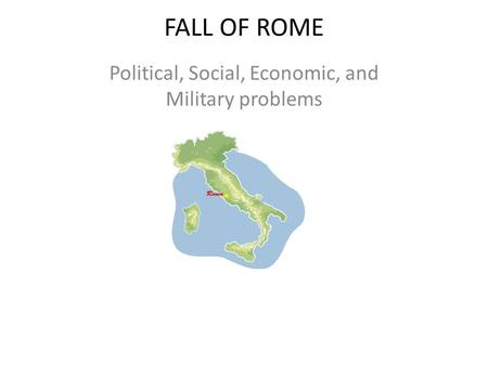 Political, Social, Economic, and Military problems