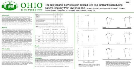 The relationship between pain-related fear and lumbar flexion during natural recovery from low back pain. James S. Thomas 1 and Christopher R. France 2,