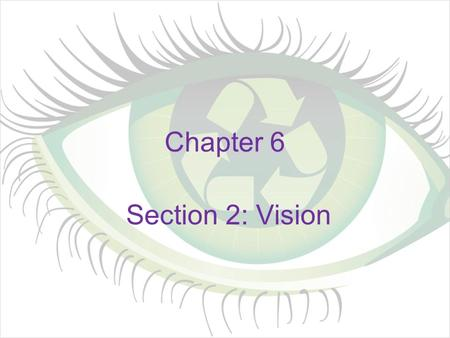 Chapter 6 Section 2: Vision. What we See Stimulus is light –Visible light comes from sun, stars, light bulbs, & is reflected off objects –Travels in the.