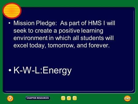 Mission Pledge: As part of HMS I will seek to create a positive learning environment in which all students will excel today, tomorrow, and forever. K-W-L:Energy.