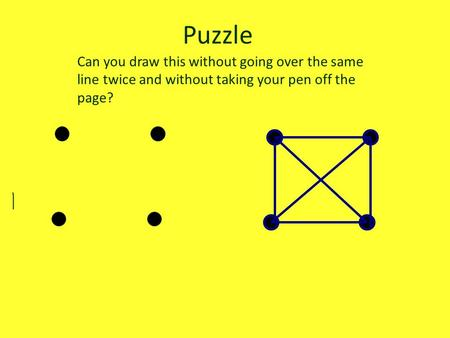 Puzzle Can you draw this without going over the same line twice and without taking your pen off the page?