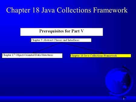 1 Chapter 18 Java Collections Framework. 2 Objectives F To describe the Java Collections Framework hierarchy (§18.1). F To use the Iterator interface.