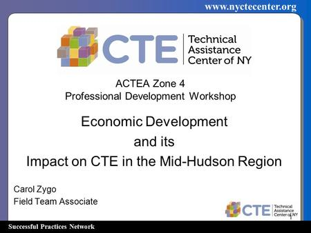 Successful Practices Network www.nyctecenter.org ACTEA Zone 4 Professional Development Workshop Economic Development and its Impact on CTE in the Mid-Hudson.