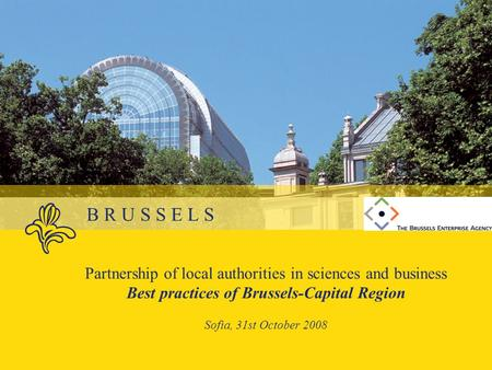 B R U S S E L S Partnership of local authorities in sciences and business Best practices of Brussels-Capital Region Sofia, 31st October 2008.