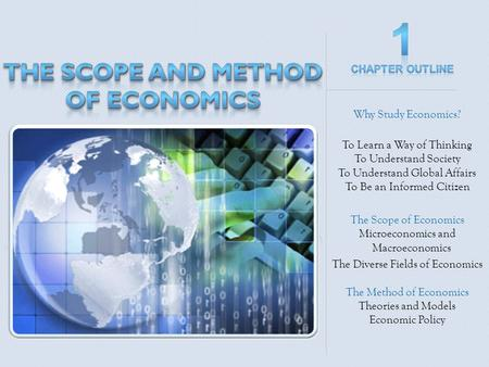 Why Study Economics? To Learn a Way of Thinking To Understand Society To Understand Global Affairs To Be an Informed Citizen The Scope of Economics Microeconomics.
