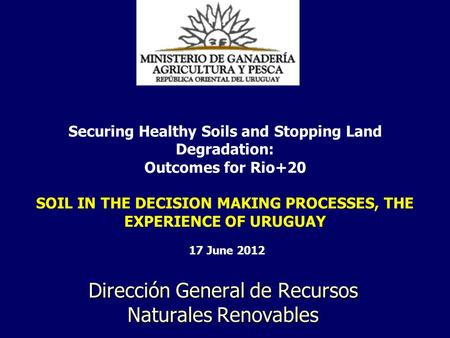 Dirección General de Recursos Naturales Renovables Securing Healthy Soils and Stopping Land Degradation: Outcomes for Rio+20 SOIL IN THE DECISION MAKING.