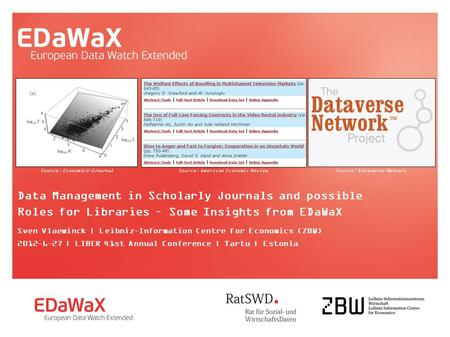 Data Management in Scholarly Journals and possible Roles for Libraries – Some Insights from EDaWaX Sven Vlaeminck | Leibniz-Information Centre for Economics.