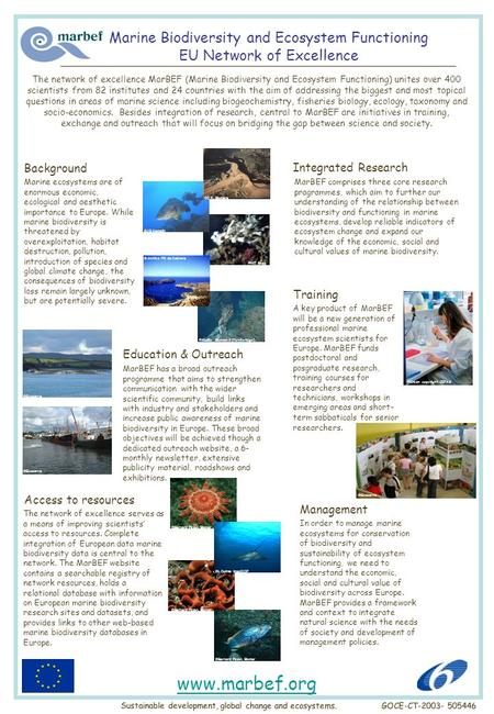 Marine Biodiversity and Ecosystem Functioning EU Network of Excellence A key product of MarBEF will be a new generation of professional marine ecosystem.